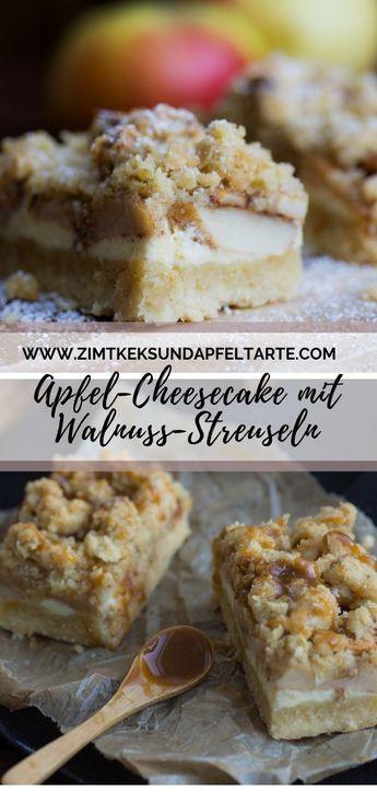 Apfel-Cheesecake mit Walnuss Streuseln - einfach und lecker #savourycake