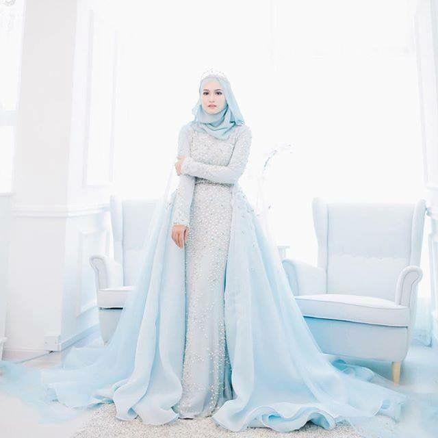 15 Inspirasi Gaun Pengantin Hijab Modern Ala Gaun Princess Stunning