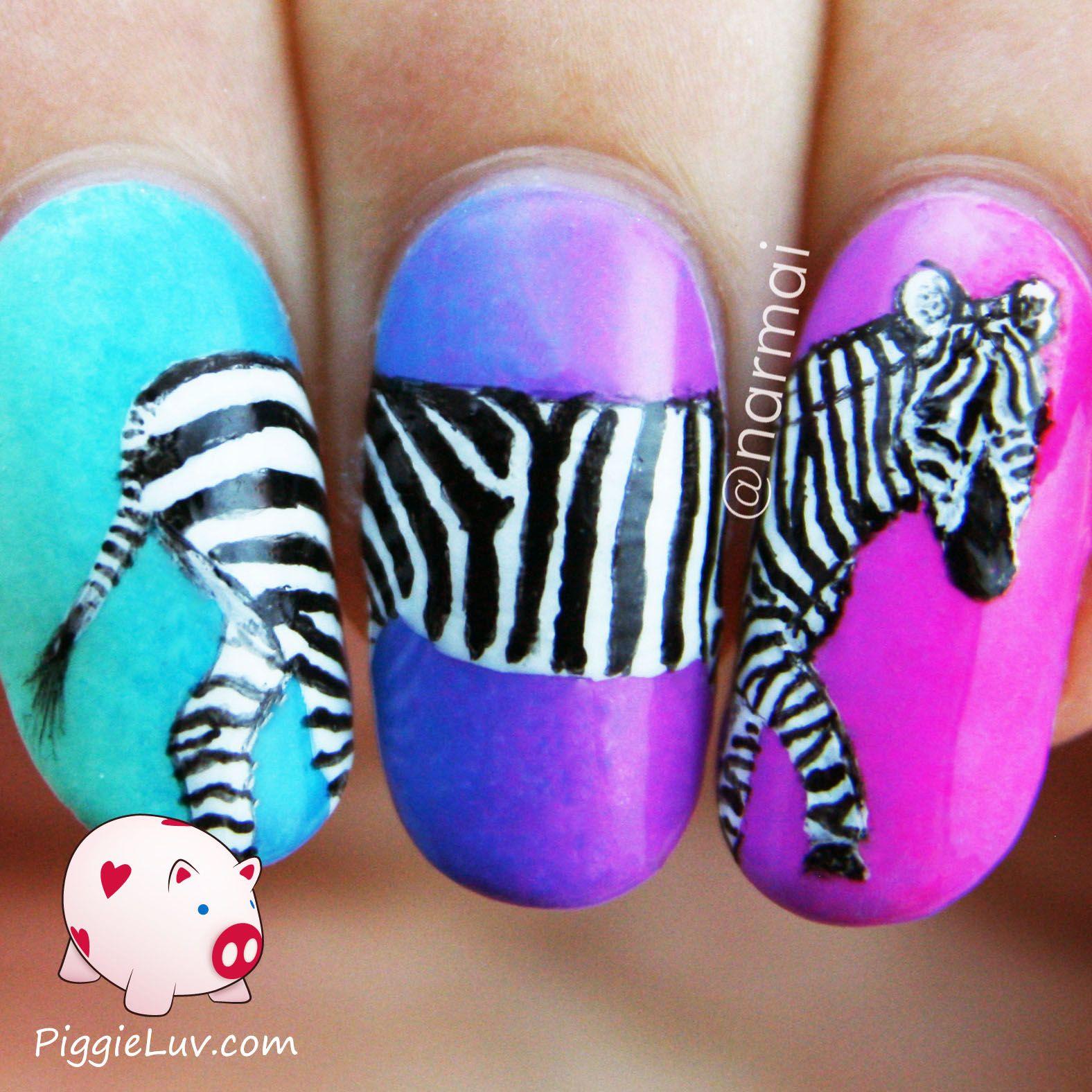 Zebra Nail Ideas: Zebra Nail Art On Neon Gradient