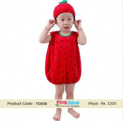 Stylish Red Strawberry Fruit Fancy Costume For Kids For Competition Fancy Dress Costumes Kids Fruit Fancy Dress Fancy Dress For Kids