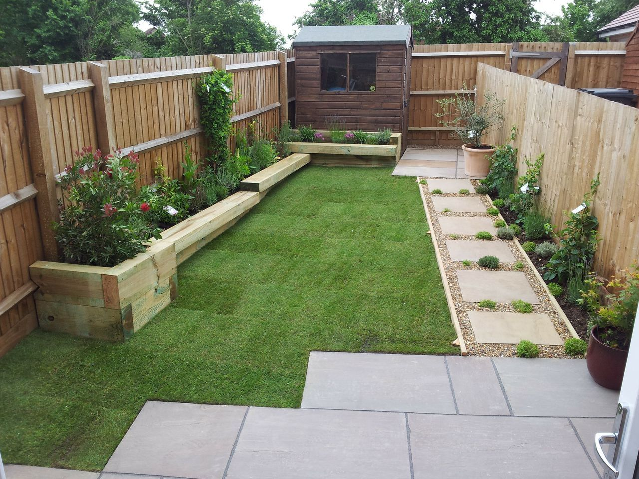 Small Garden With Raised Beds Sleeper Benches