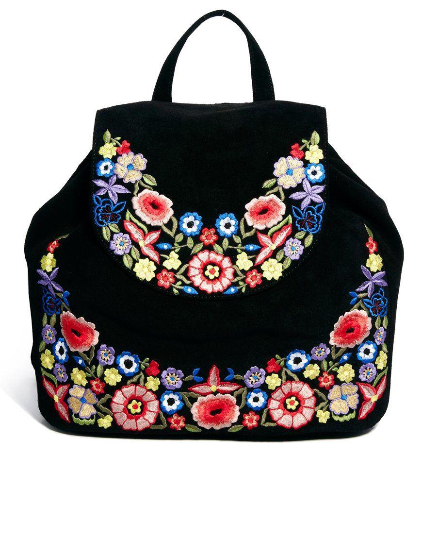 06a3ba186 Mochila de piel bordada | carteras | Black leather backpack, Fashion ...
