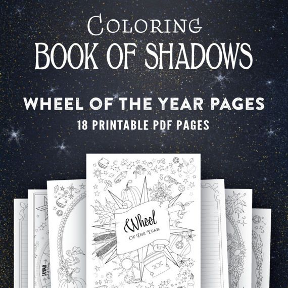 Wheel Of The Year Printable Coloring Book Of Shadows Pages Book