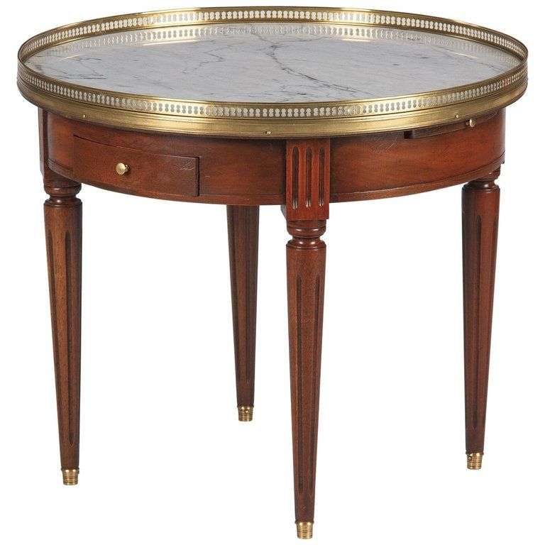 French Louis Xvi Style Marble Top Cherrywood Bouillotte Table 1940s Louis Xvi Style Side Table Antique Table
