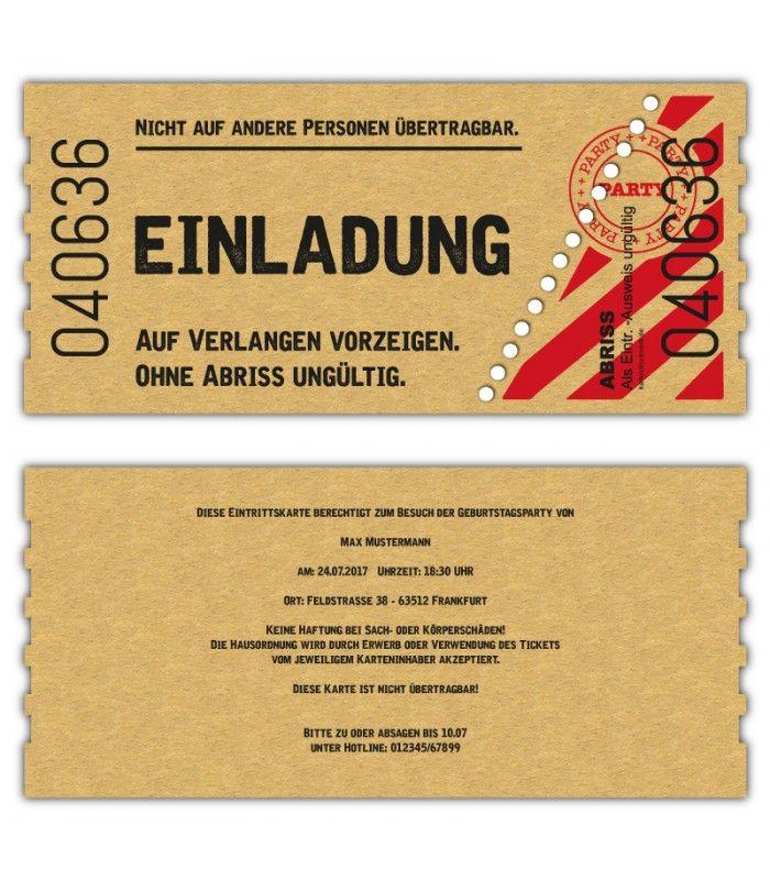 Einladung Kinokarte Geburtstag als Ticket Eintrittskare Vintage