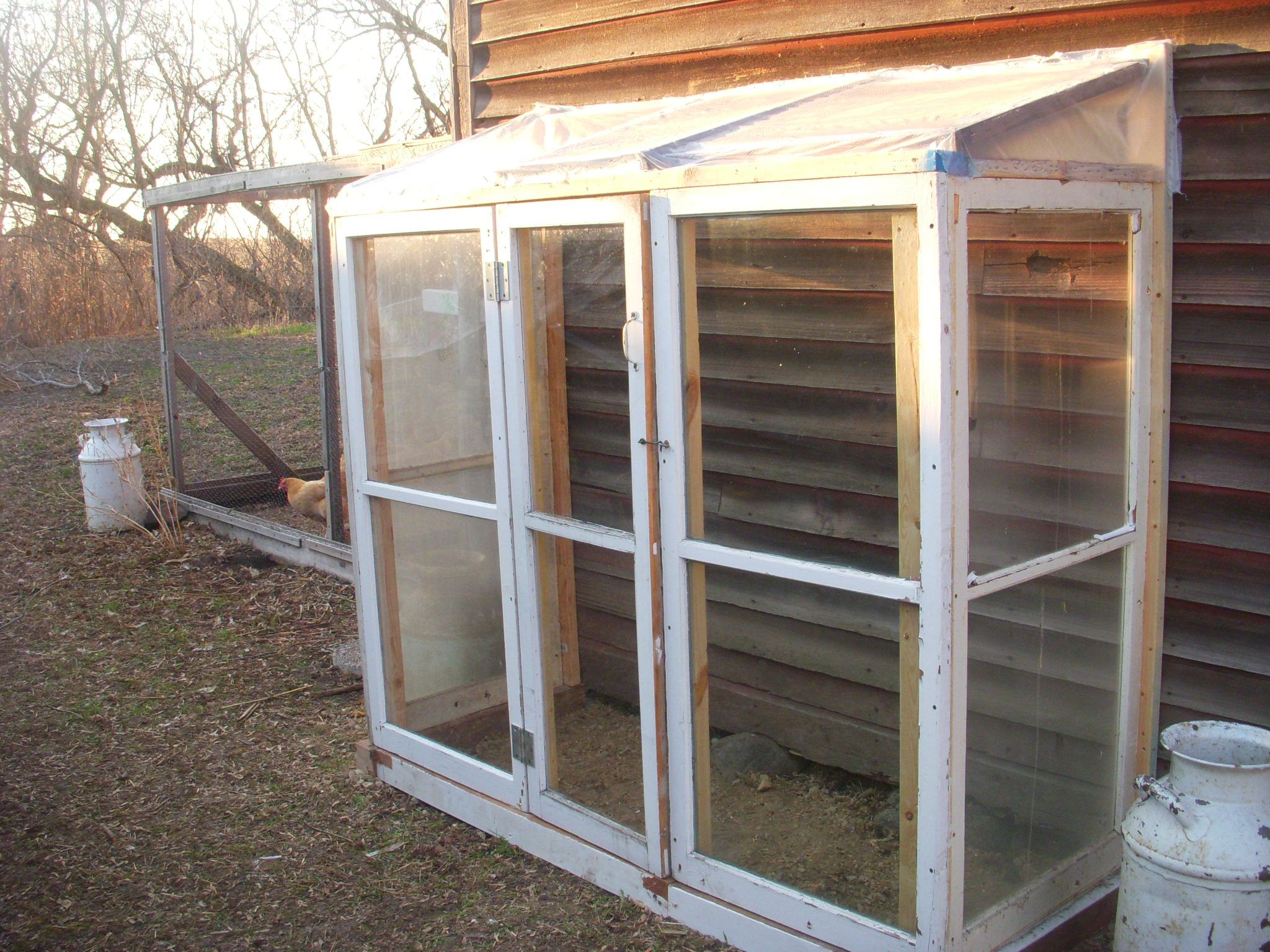 My cold frame green house built from recycles storm