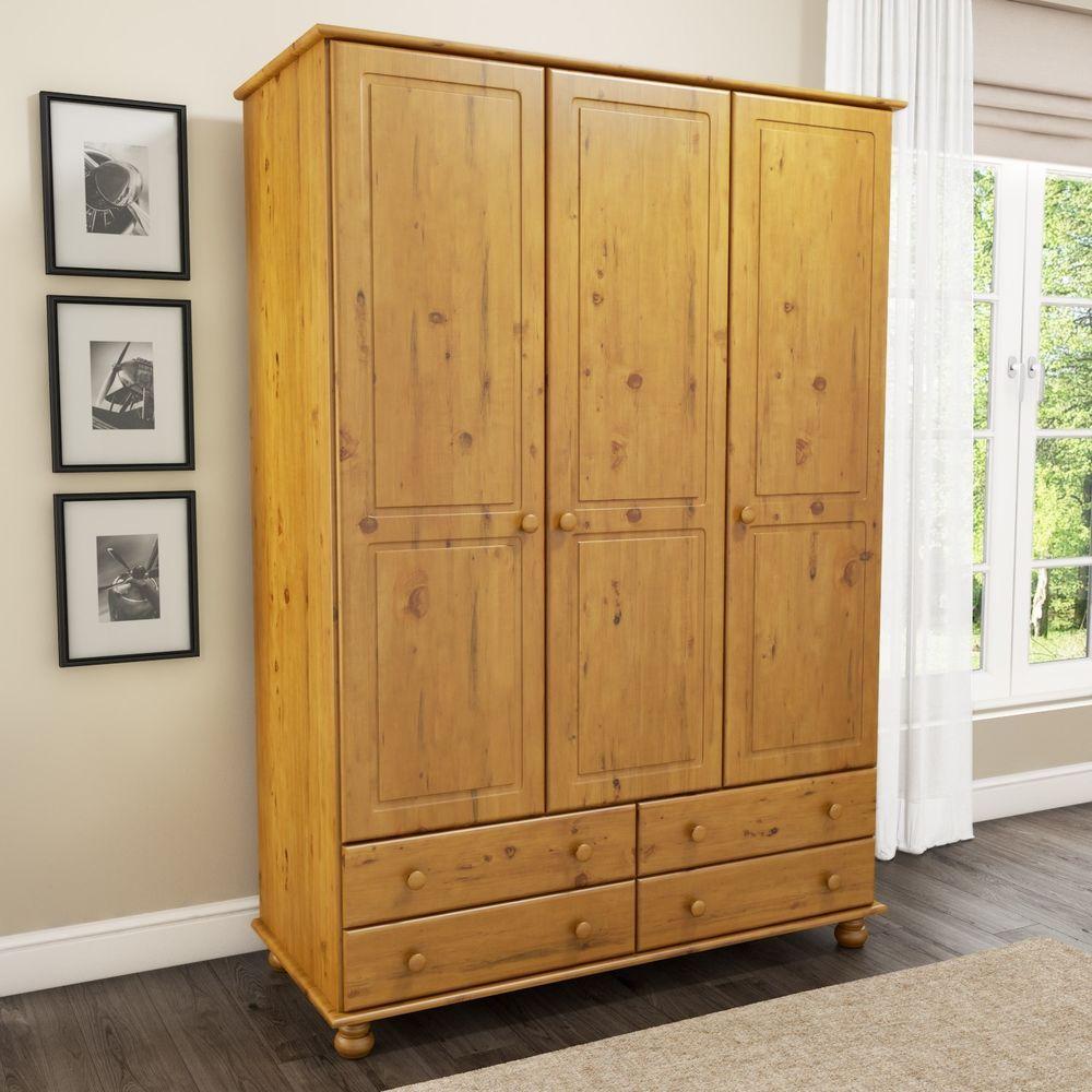 Details about triple door drawer wardrobe pine finish wooden