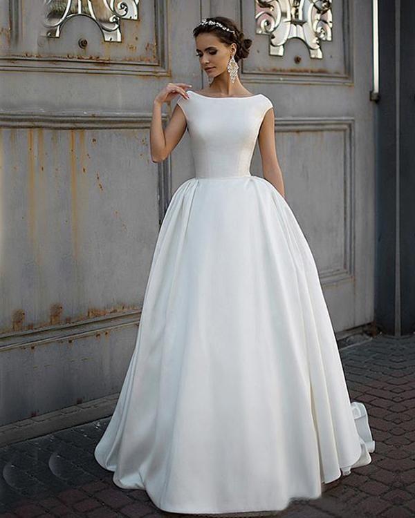 Modest Wedding Dresses 2019: Fashion 2019 Satin Wedding Dresses Backless Modest A-line