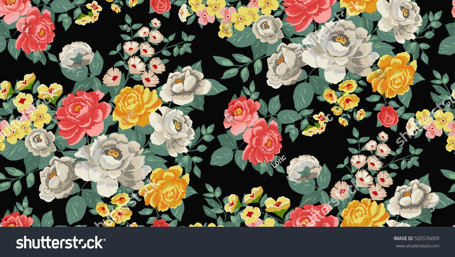 Classic Wallpaper Seamless Vintage Flower Pattern Background In