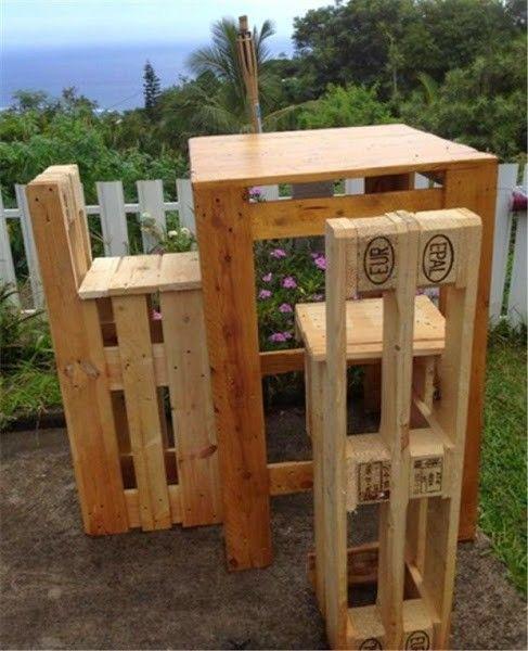 Sillas y mesa alta reciclado de palets cajones y m s - Sillas con palets ...
