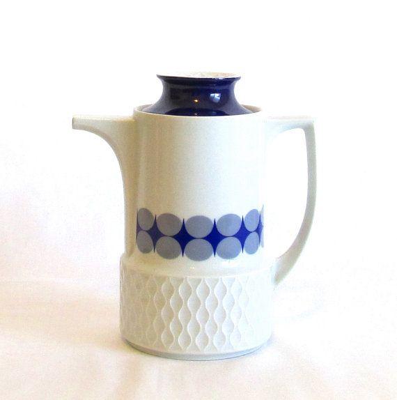 Mid Century Modern Coffee Pot Ceramic Coffee Tea Pot 1960s Cobalt Blue White Gray Retro Coffee Pot Schirnding Bava Vintage Coffee Pot Vintage Coffee Coffee Pot