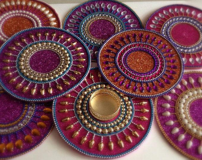 Tealight holder base,Indian wedding, Indian favor, boho decor,Mandala decor, fuschia decor, purple decor, gypsy decor, diya, diwali diya