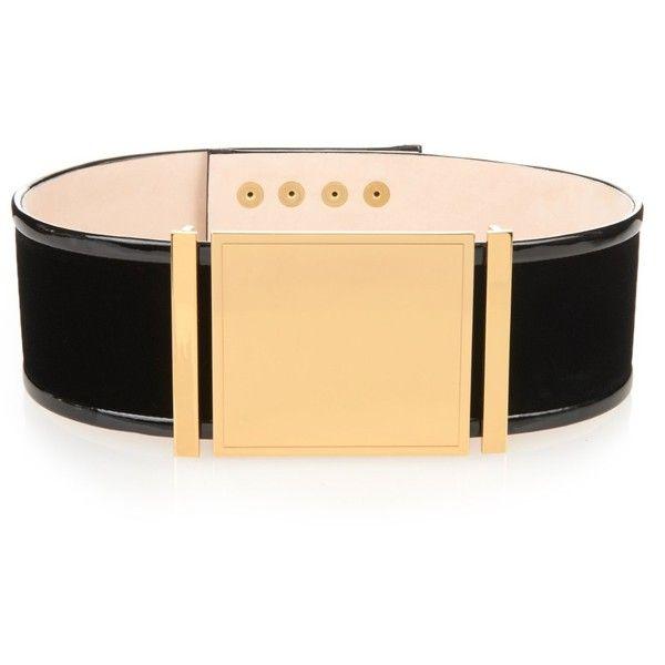 Balmain Wide velvet belt ($1,082) ❤ liked on Polyvore featuring accessories, belts, black, wide black belt, black belt, snap buckle belt, wide belt and wide buckle belt