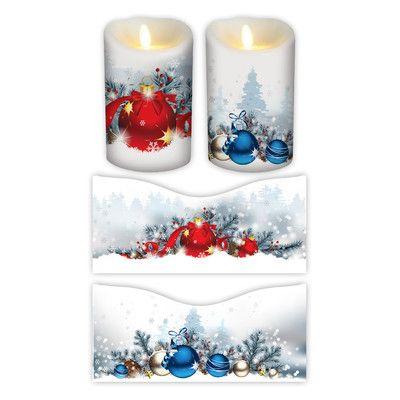 "FlamelessDecor 2 Piece Holiday Votive Candle Wrap Size: 7"" H x 3.5"" W x 3.5"" D"