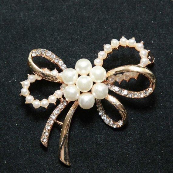 gold pearl bow rhinestone crystal pendant by lovesparkleville, $6.99