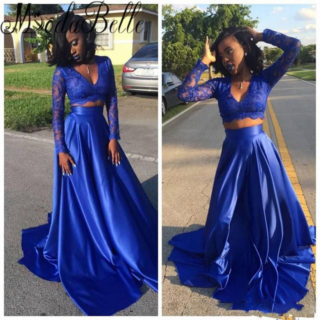 2 Piece Royal Blue Prom Dress Lace V-Neck Black Girl Prom Dresses ...