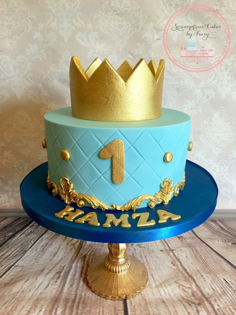 Little Prince Royal Cakes Royal Blue Gold birthday cake with