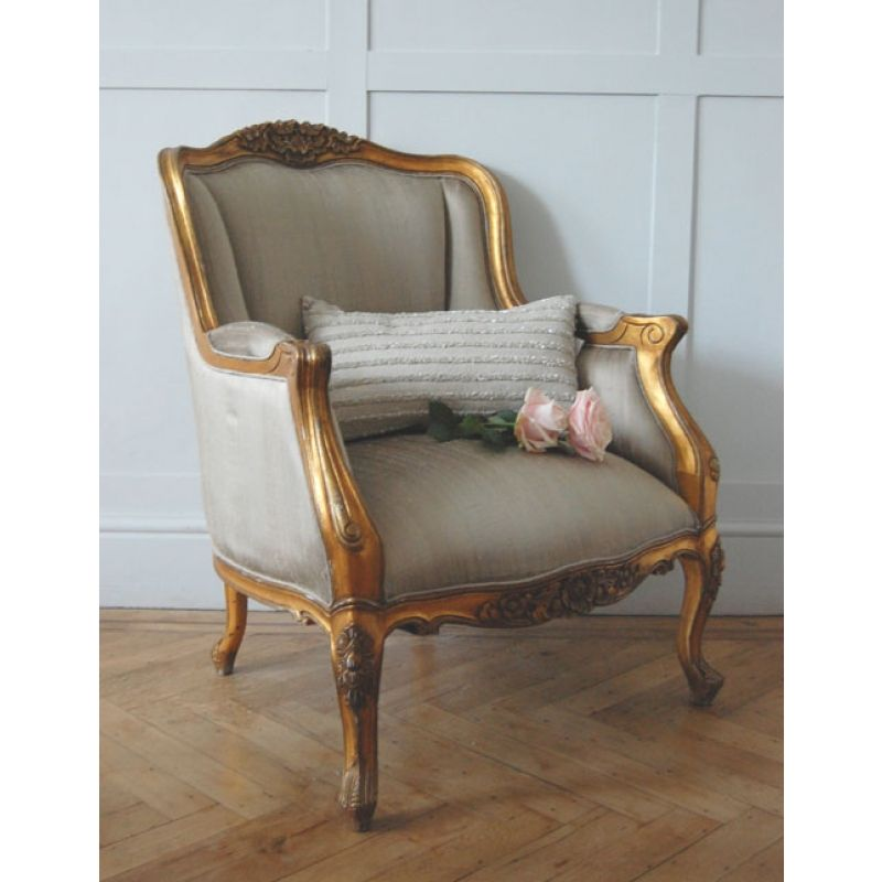 Charmant A Lush Gold Gilt Silk Upholstered Chair That Is Inspired By An Original  French Design,