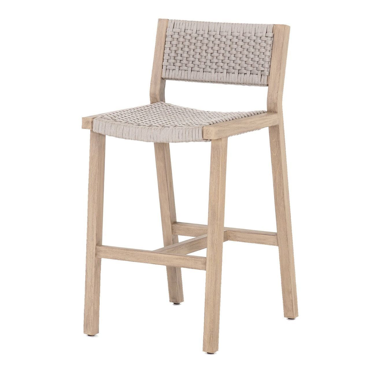 Delano Natural Teak Outdoor Rope Bar Stool Outdoor Bar Stools