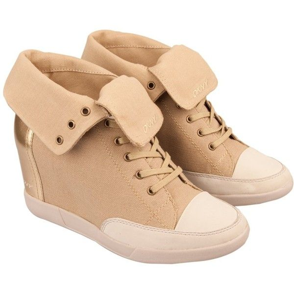 DKNY Gold Hudson Women's Wedge Trainer ($115) ❤ liked on Polyvore