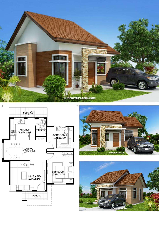 Katrina Stylish Two Bedroom House Plan Pinoy Eplans Two Bedroom House Design Affordable House Plans House Construction Plan