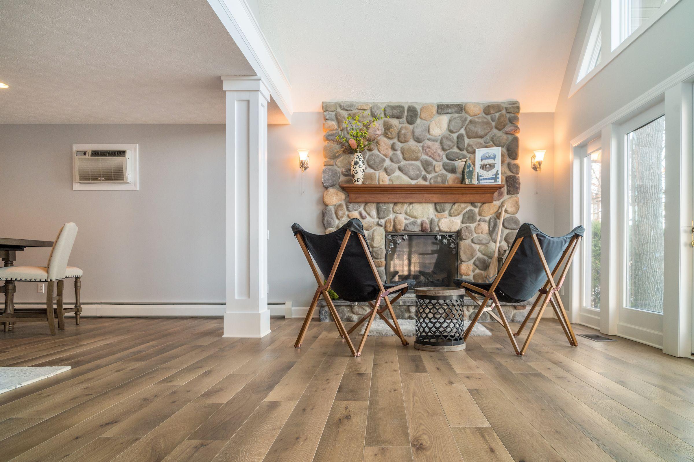 Lake house hardwood flooring nautical wide plank white oak hardwood flooring
