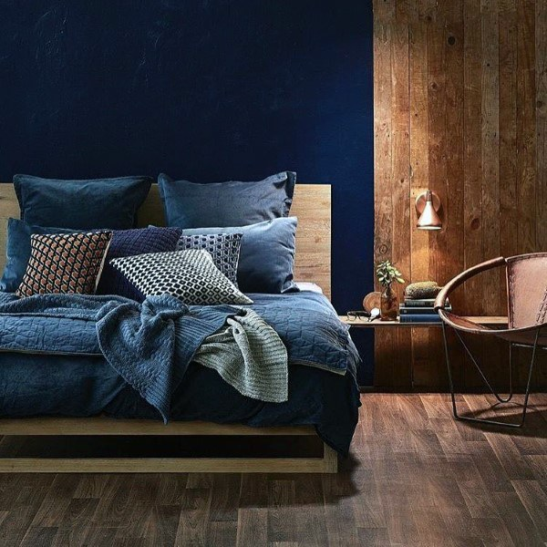 Moat Soothing Popular Colors With Accent Wall: Top 50 Best Navy Blue Bedroom Design Ideas