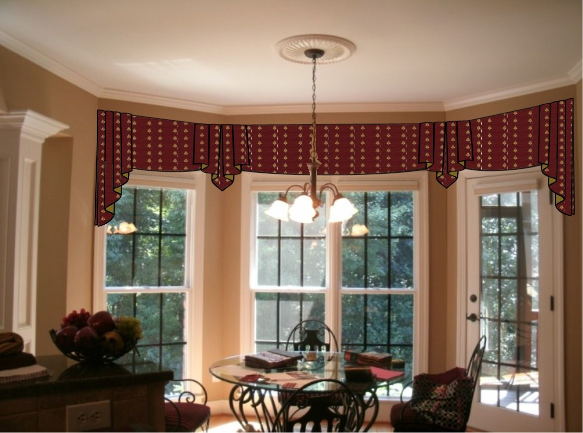 Window treatments for a bow window window treatments for Window blinds with designs