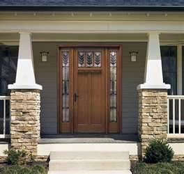 Arts U0026 Crafts Style, Front Home Exterior Design, Stone, Wood Door, Mission