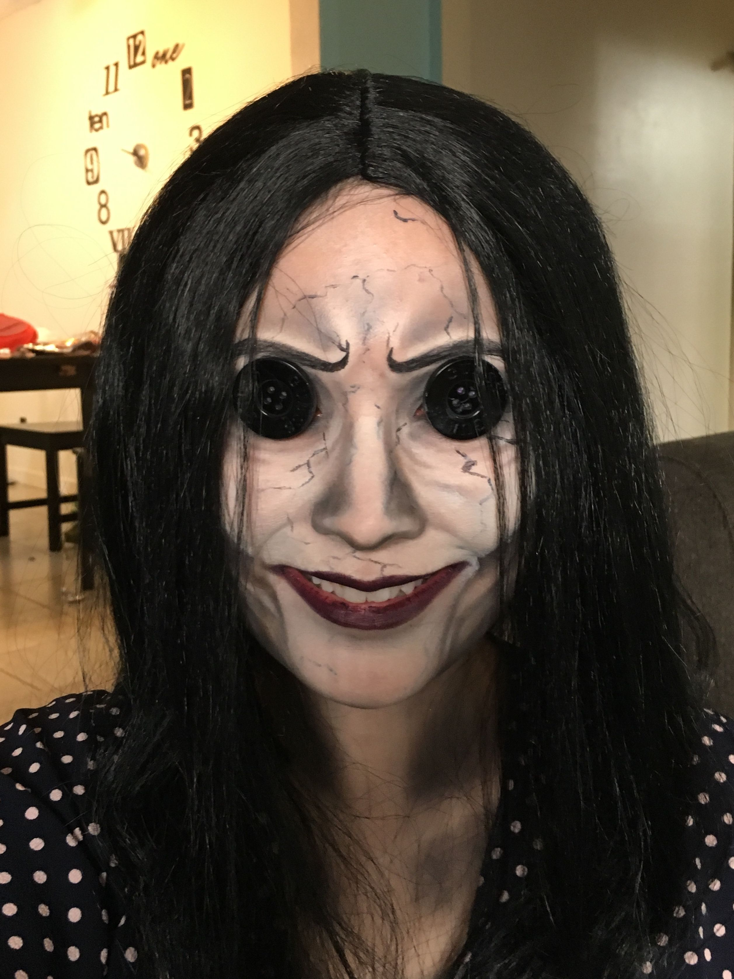 Other Mother Makeup By Kw3ra Creepy Halloween Spooky Scary Makeup Othermother Coraline Costume Mothers Makeup Makeup Spooky Costumes
