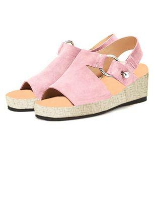 Women's Grommet Slingbacks Wedge Heel Sandals Pink US 8