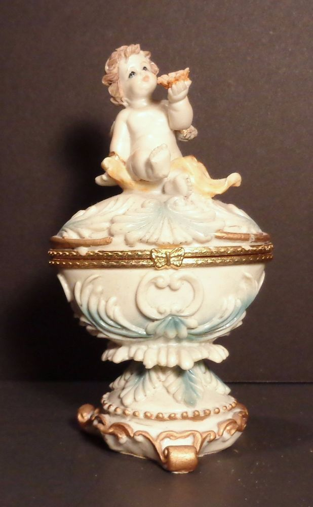 Ceramic Cherub Angel Hinged Trinket Ring Box Blue Gold Off White