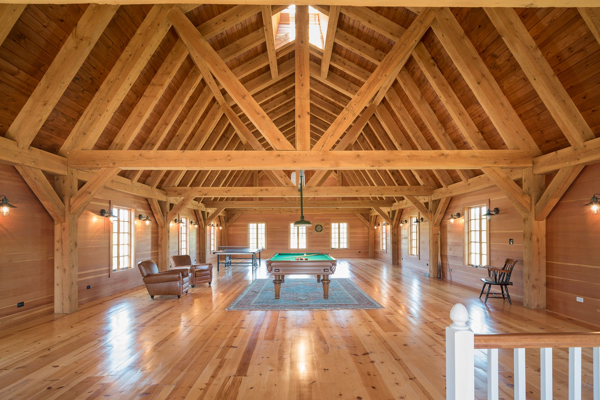 Gambrel barn frame post beam construction abodes for Barn roof plans