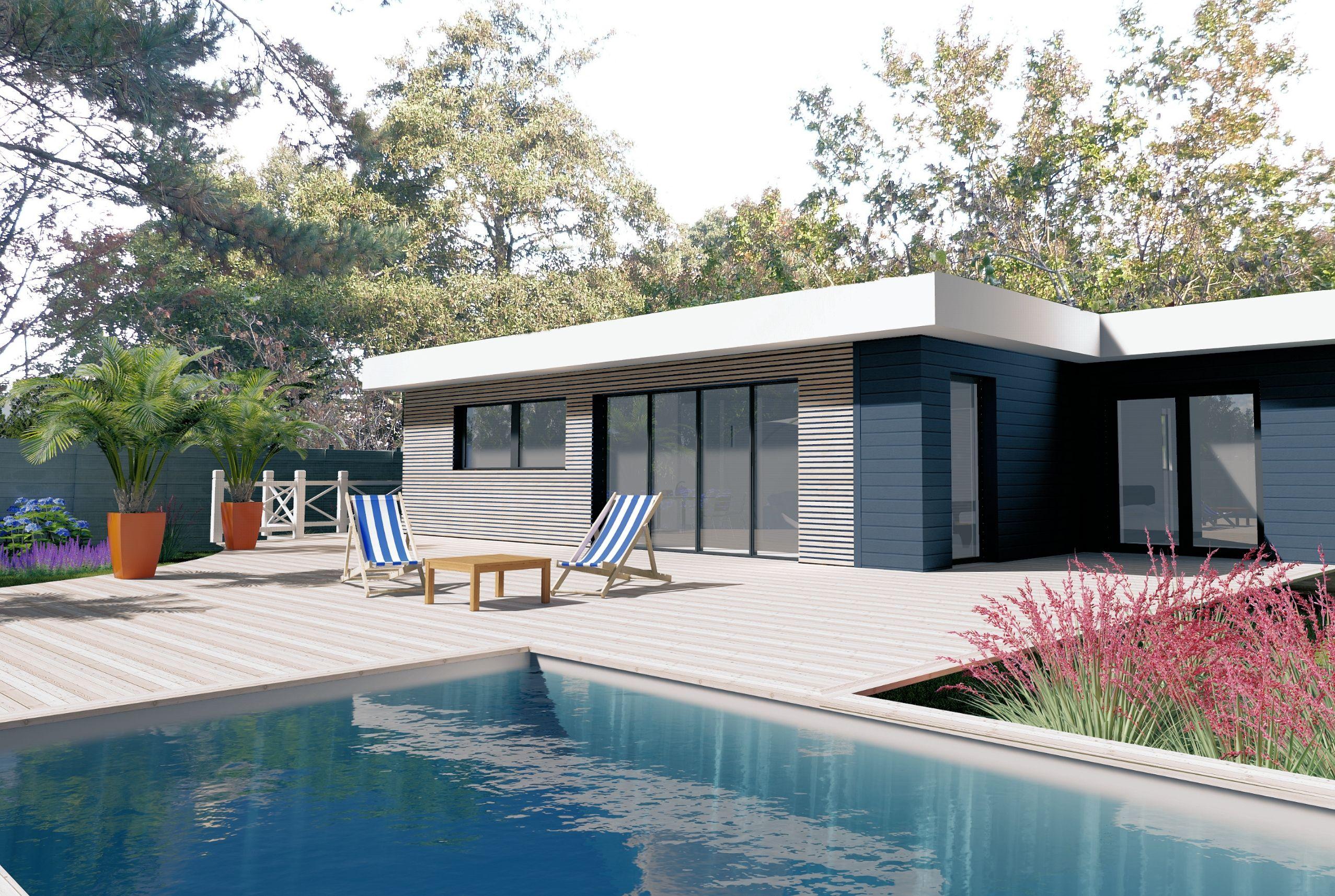 maison en ossature bois bardage claire voie terrasse et. Black Bedroom Furniture Sets. Home Design Ideas