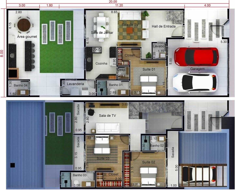 Plano De Casa Con Edicula8x20 Planos De Casas Disenos De Casas Planos De Casas 3d