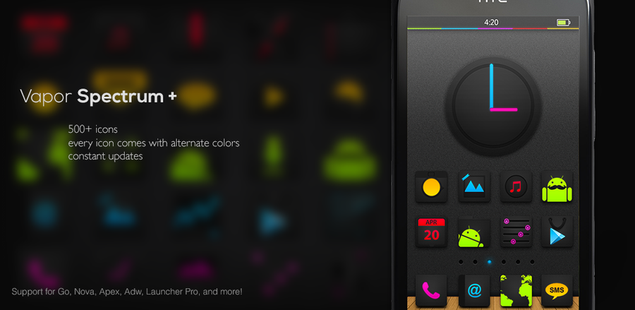 Vapor Spectrum Icons pack for Android Launchers by R3DX7