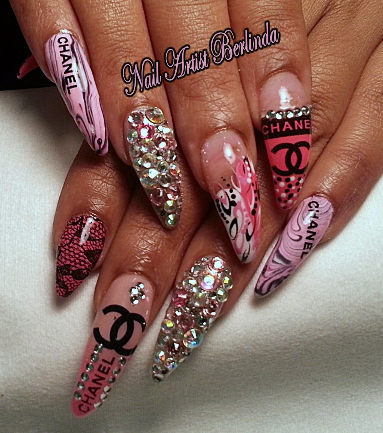 Chanel and Swarovski www.nailartistberlinda.com | Extravagant Nail ...