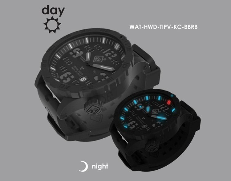 Hazard 4® Heavy Water Diver. Titanium Case, Self-Contained Tritium, Scratch Resistant Sapphire Crystal Glass With Anti-Reflective Coating.