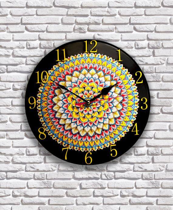 Wooden Round Wall Clock Majolica Analog Clock Wall By Wowstuffs Wall Clock Round Wall Clocks Clock