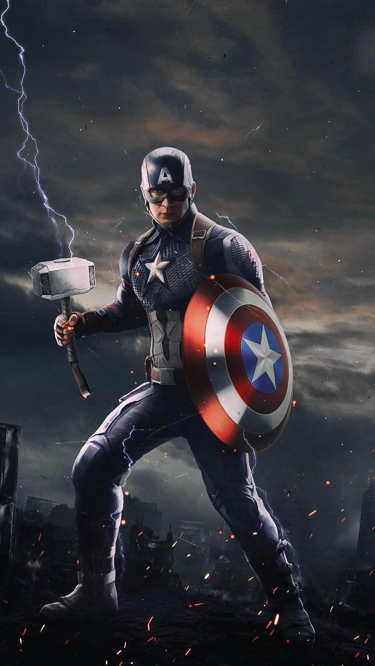 Captain America With Thor Mjolnir Iphone Wallpaper Iphone Wallpapers Captain America Wallpaper Captain America Marvel Captain America