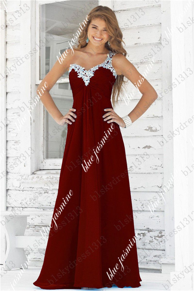 New Long Chiffon Bridesmaid Formal Gown Ball Party Cocktail Evening ...