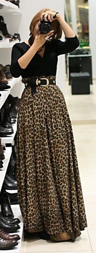 c6eebe2e6 blusa negra + falda larga leopardo animal print | Outfit | Falda de ...