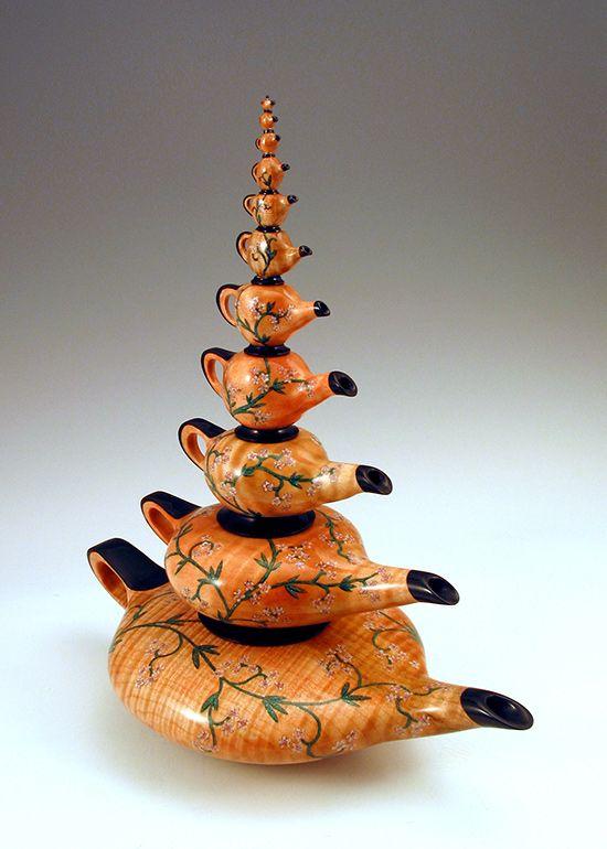 "Stephen Hatcher - Fine Art Woodturning Infini-Tea!, 2008, 12.75""T x 10.75""W x…"