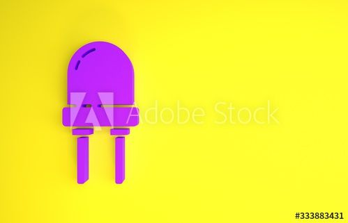 Purple Light emitting diode icon isolated on yellow background. Semiconductor diode electrical component. Minimalism concept. 3d illustration 3D render - Buy this stock illustration and explore similar illustrations at Adobe Stock