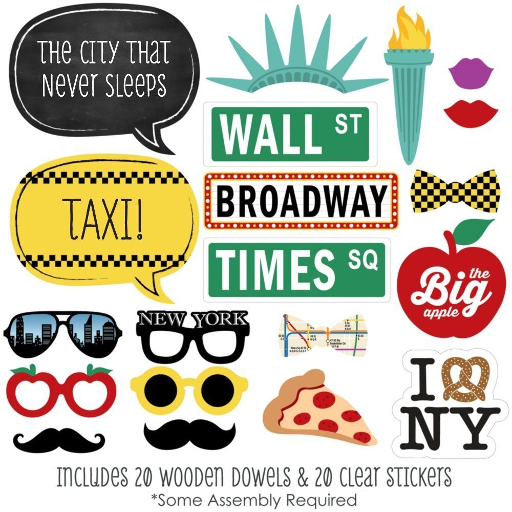 New York Photo Booth Props Kit 20 Count