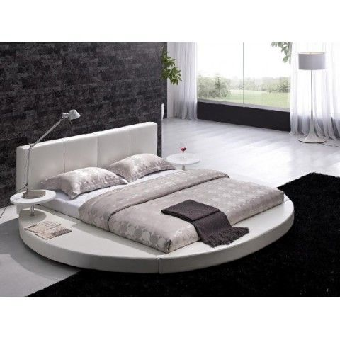 Modern White Leather Headboard Round Bed Bedding Pinterest