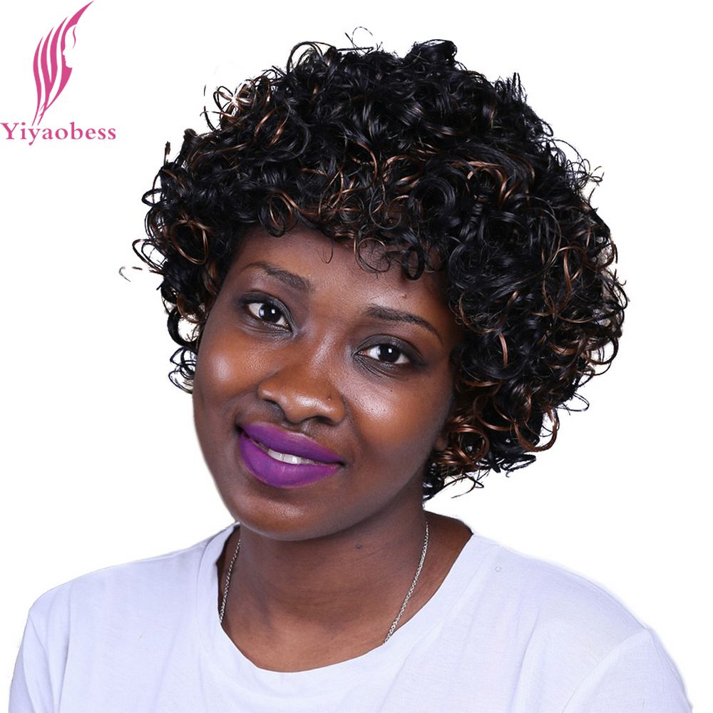 Yiyaobess 30cm 1b30 Short Curly Wigs For African American Women
