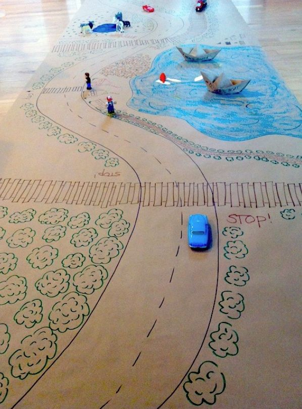 Rainy day activity. Draw your own maps to be able to play with cars ...