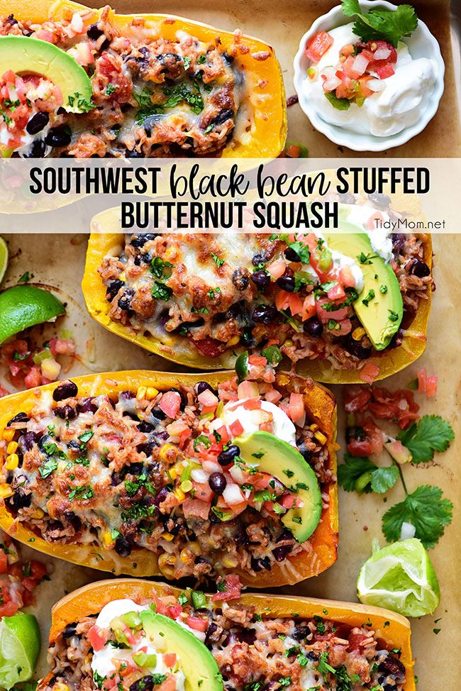 Looking for a meatless dinner idea that doesnt leave you hungry Treat them to this colorful and delicious Southwest Black Bean Stuffed Butternut Squash The beans add prot...