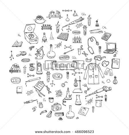 Hand drawn doodle Medical laboratory icons set. Vector